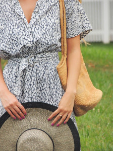 Vintage printed dress and a sun hat