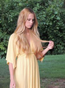 Golden yellow jersey dress