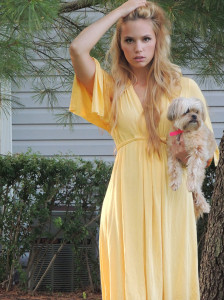 Golden yellow jersey dress
