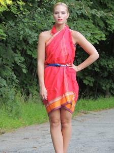 Red scarf dress