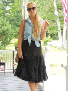 Chambray shirt and lace petticoat