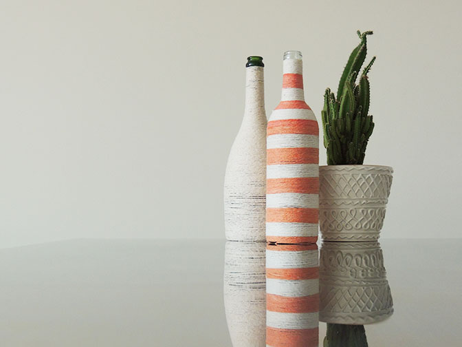 Twine wrapped wine bottles DIY