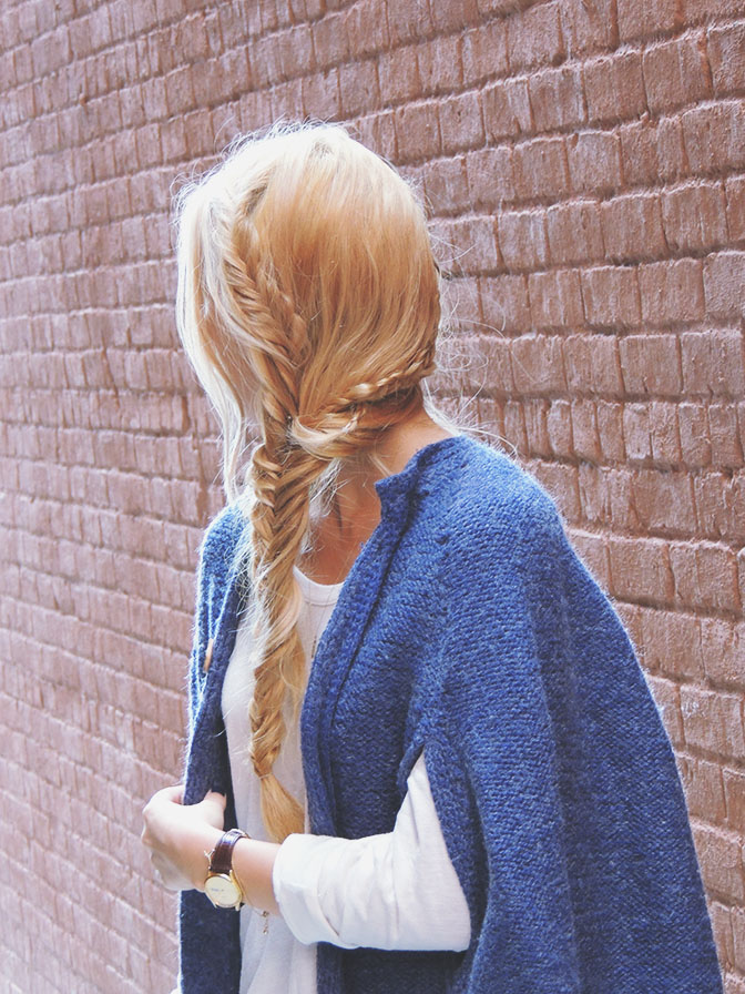 Purple knit cape with fringe