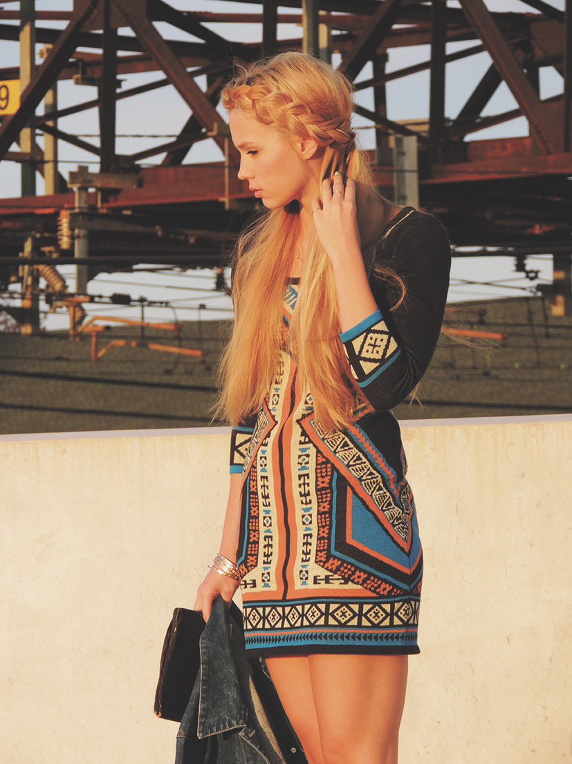 Patterned sweater dress and jean jacket