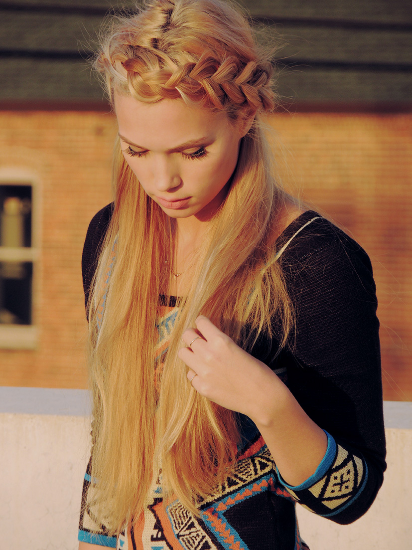 Patterned sweater dress and a dutch braid crown