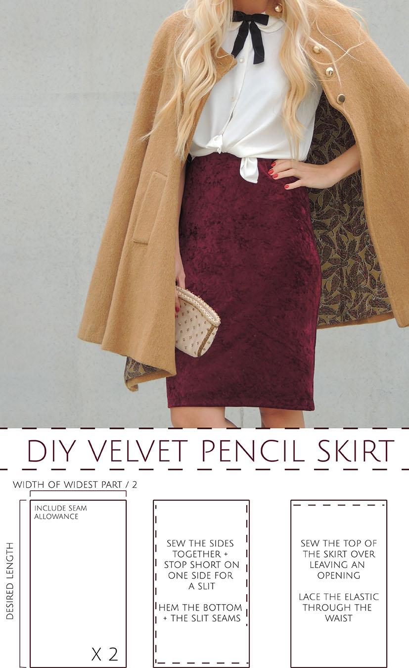Do it yourself velvet skirt tutorial