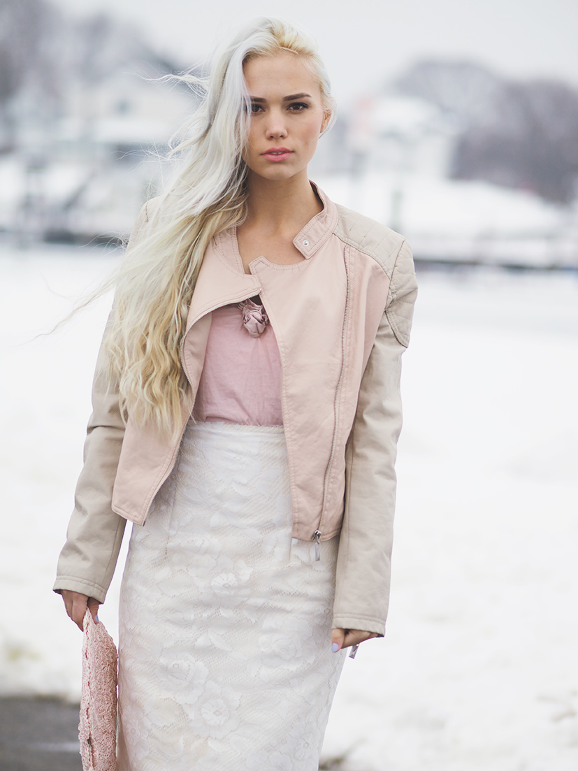 Winter white and pale pink