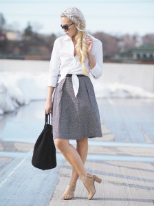 Tied button down and polka dot dress