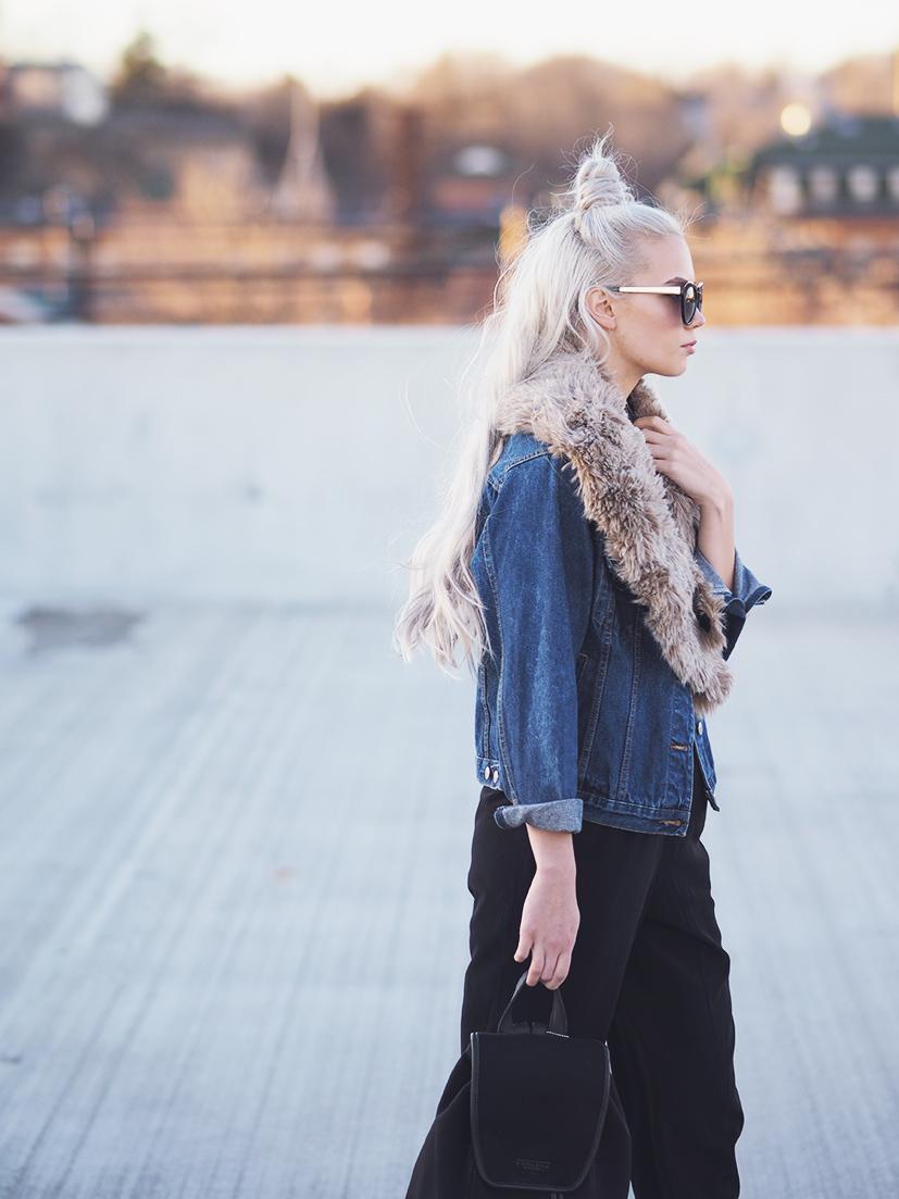 Denim jacket and fur collar