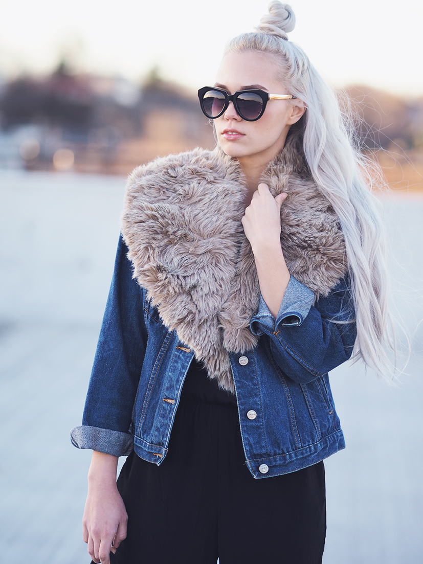 Denim jacket and fur collar
