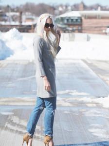 Jcrew dress over distressed boyfriend jeans