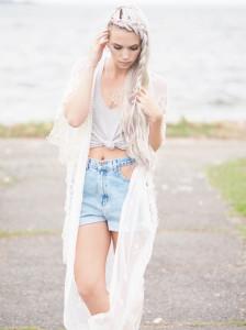 Lace kimono and jean shorts