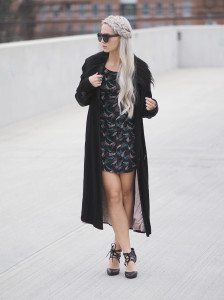 Mini dress and trench coat
