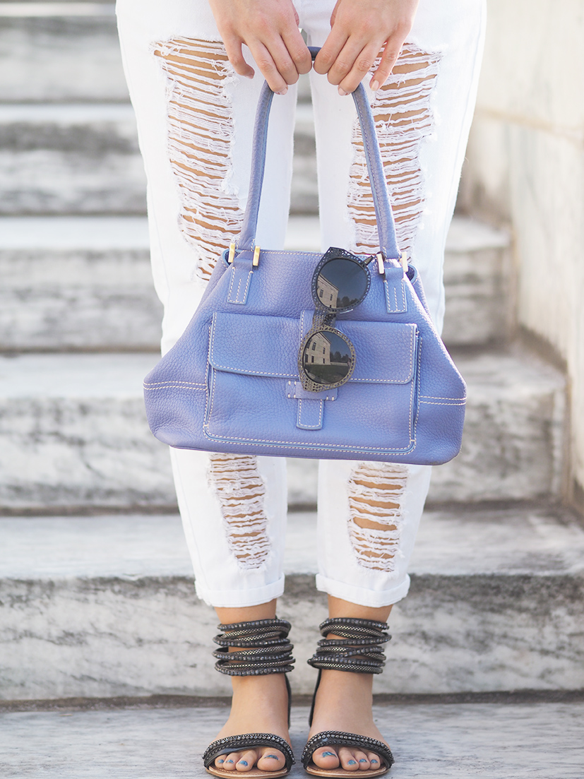 Naughty monkey sandals and Loro Piana handbag