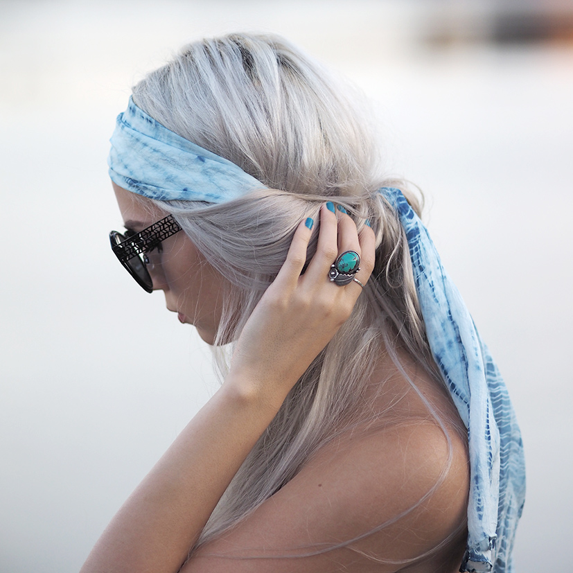 Boho headscarf and turqouise