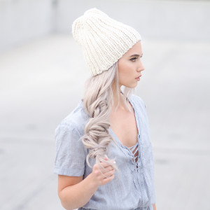 Chambray romper and a knit hat