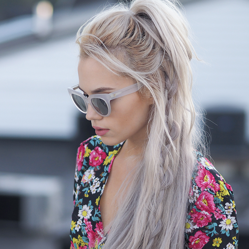 Boho braided half up style