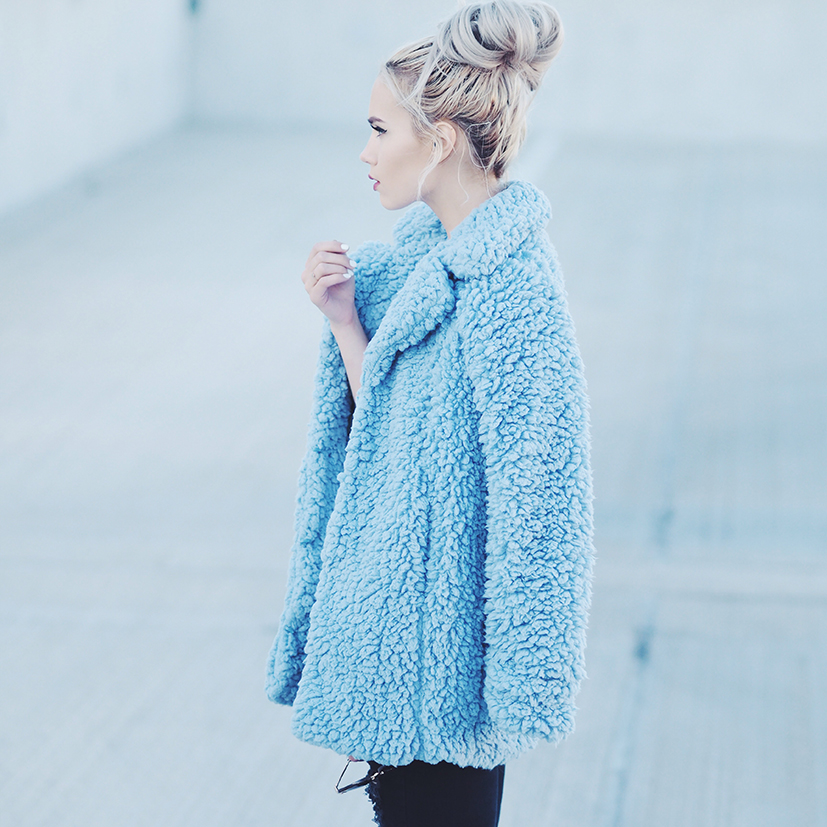 Fuzzy blue jacket