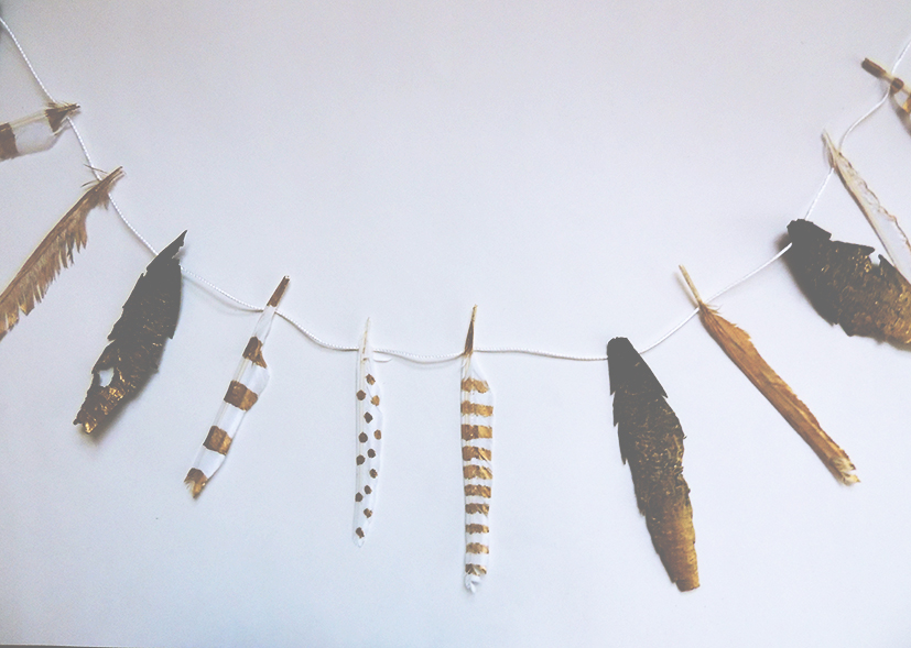 DIY Tutorial: How to make your own golden feather garland