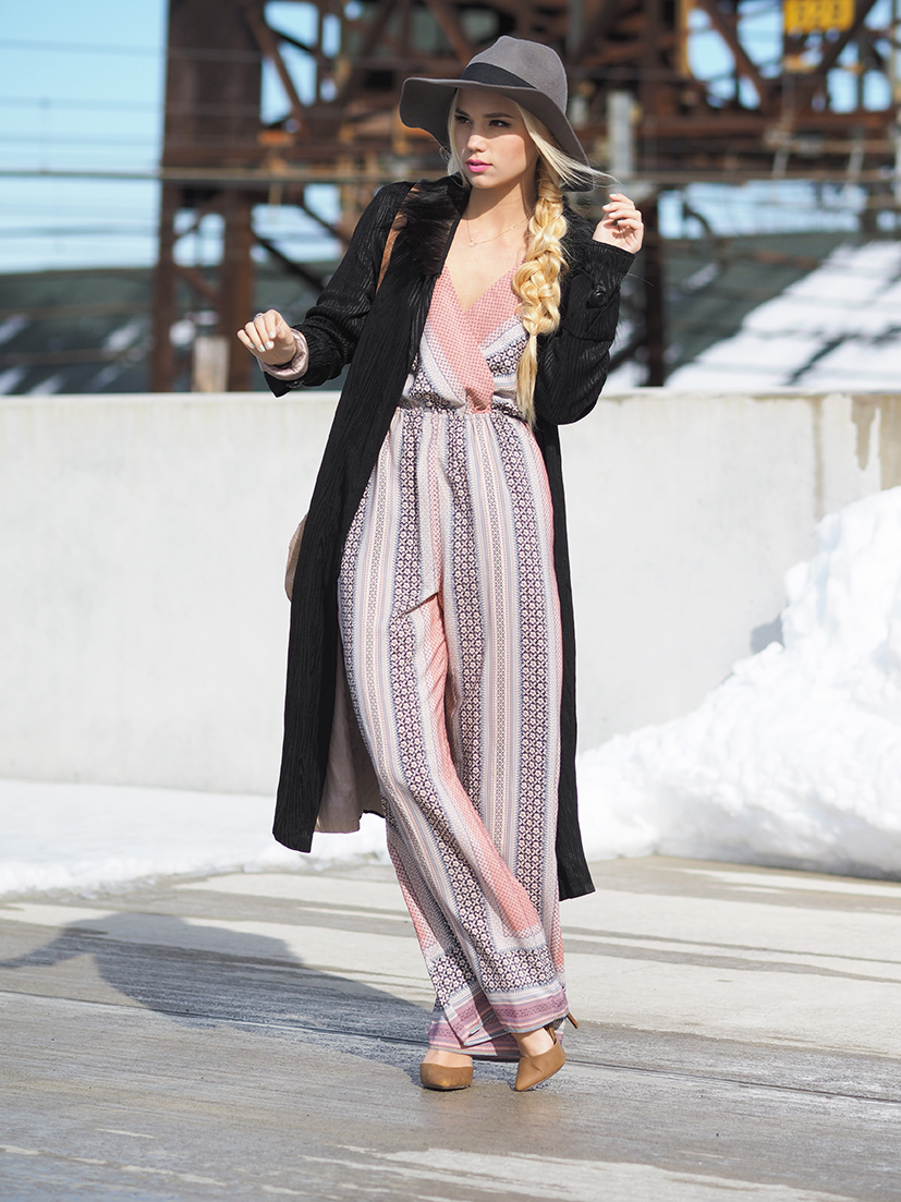 Pink patterned jumpsuit and retro coat