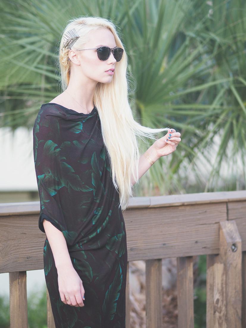 Lanvin Palm Print Knit Dress