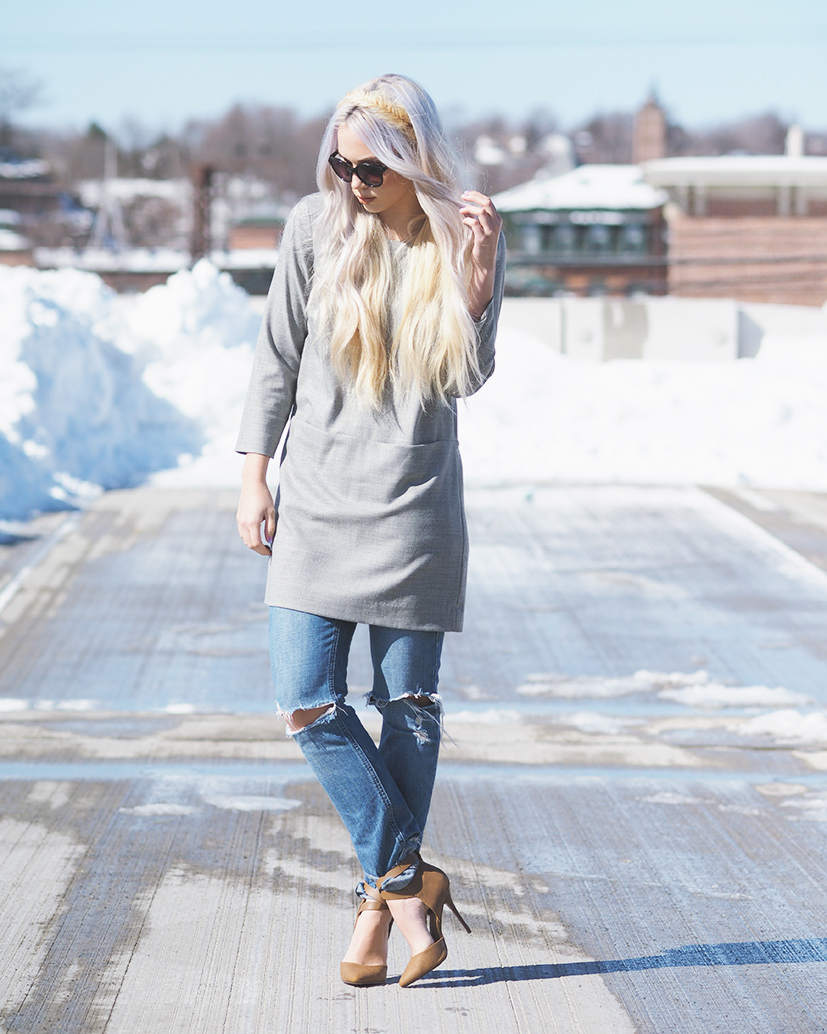 Jcrew dress over distressed boyfriend jeans