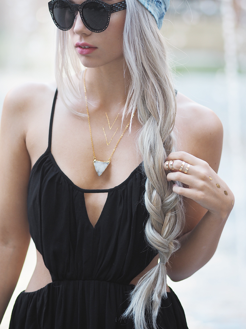 Druzy necklace and flash tattoos